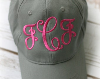 Ladies Monogrammed Baseball Hat-Monogrammed Ballcap-Fancy Script Font-Personalized Hat For Women