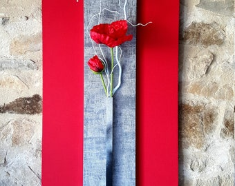Red floral vegetable painting and poppy