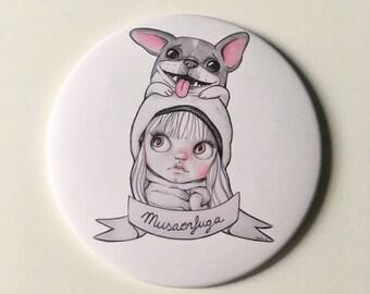 Pocket mirror-blythe pocket mirrow, illustrated mirror, blythe illustration
