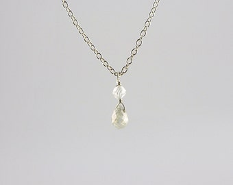 Teeny Tiny Grey Rustic Diamond Bead Teardrop Pendant