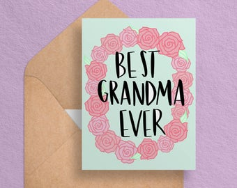 Printable Mother's Day Card for Grandma - Best Grandma Ever -  Cute/Floral Mothers Day Card - Digital Download//Printable Card