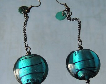 Teal pearls and black chain