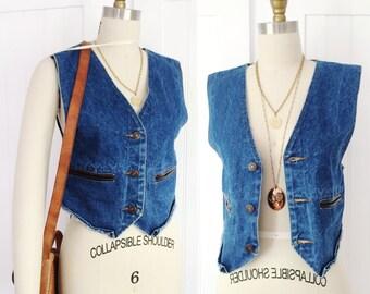 "Vintage 1970's ""Explorer"" brand denim vest waistcoat with leather details"
