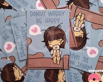 donut worry postcard 5x7 print