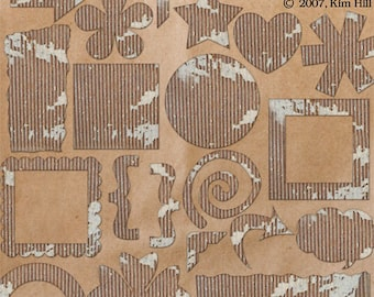 """Cardboard Scrapbook Element Pack - """"Cardboard Cut-Outs"""" for embellishing digital scrapbook layouts with ripped and torn cardboard pieces"""