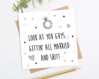 Funny Engagement Card, Funny Wedding Card, Engaged Card, Mr & Mrs card, Adult Wedding Card, Adult Engagement Card