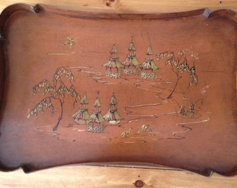 Vintage Large Chinoiserie Toleware Tray