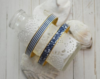Women's Preppy Bangle Bracelet - Navy Stripes & Navy Floral