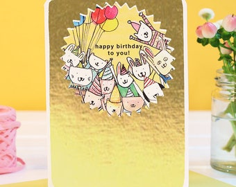 GOLD FOILED Happy Birthday to you Card