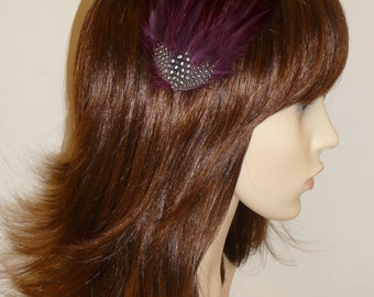 Wine Burgundy Maroon Fascinator HAIR CLIP Bridesmaids Hair Accessory Handmade Black White Wedding Headpiece 'Gwen'