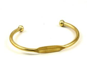 Blank brass BRACELET cuff jewelry embellishment with pad 7mm x 20mm (T102)