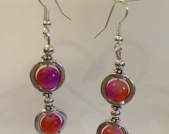 Earrings Silver earrings with beads color Fuchsia / Orange