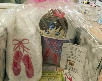Pretty Ballerina Hooded Towel Gift Basket, Hand Towel, Key Fob, Etsy Gift Card