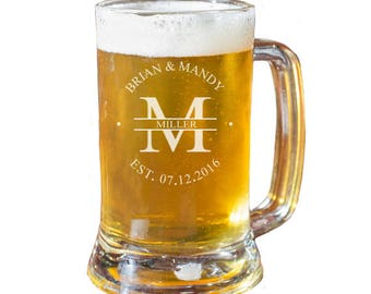 Personalized Beer Mug, Engraved Beer Mug, Family Name Beer Mug, Wedding Gift, Anniversary Gift