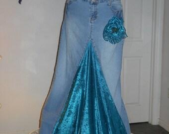 Belle Époque Turquoise bohemian jean skirt teal green velvet mermaid goddess vintage lace sequins