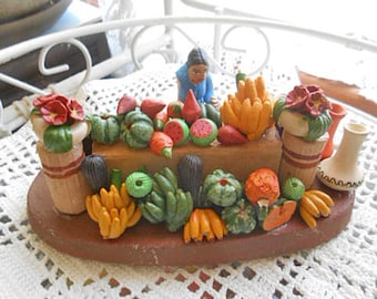 CLAY FRUIT SELLER Market Stall Bananas Melons Flowers Jugs Columbia Folk Art Pottery Travel Souvenir Handmade Vibrant Painted Color Ooak