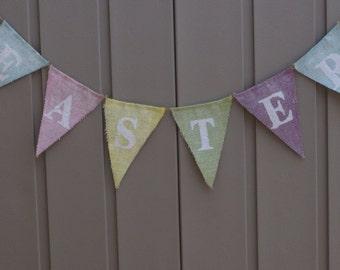 Easter Banner, Spring Banner, Burlap Banner, Easter Garland, Burlap Bunting, Burlap Garland, Easter Decor, Rustic Easter, Photography Prop
