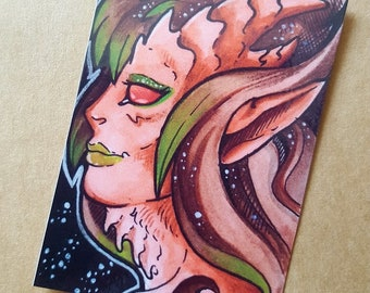 Faun art, woodland art, forest, nature, ACEO, artist trading card, ACEO Print, miniature art, fantasy art, fantasy print