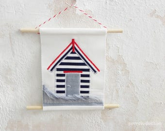 Beach House Textile Art - Beach landscape - Sea Art - Minimalist Art - Wall Decor. Kids room decoration! Bedroom even bathroom decor!