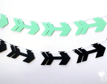 Arrows banner. Mint Green or Black. Photo Prop, Birthday party garland, bunting, baby shower. Boho Tribal Wilderness party. Wild One.