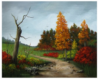 Fine Art Print, 8 x 10 Colors of Fall, Bright Orange and Red Colored Trees Along a Dirt Path, Bare Tree