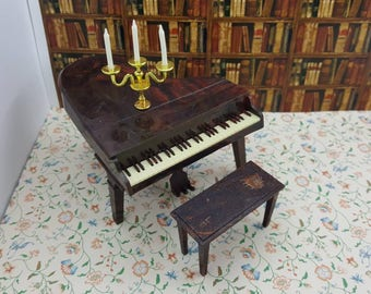 Renwal Baby Grand Piano and Bench Doll House Toy living room Hard Plastic Piano Candle Abra Music