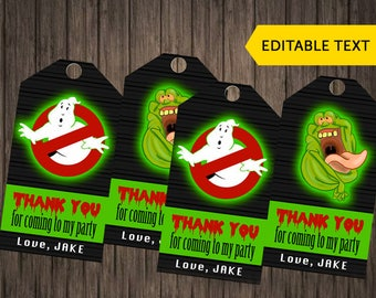 Ghostbusters Birthday Thank You Tags Ghostbusters Editable Text Thank You Cards Ghostbusters Party Printables Instant Download Digital