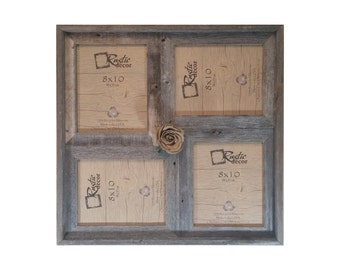 "8x10 -2"" wide Multi-Direction Rustic Barn Wood Collage Frame(Holds 4-8x10 Pictures)"