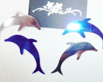 2 silver 2 4 dolphins - Dolphin decor-blue