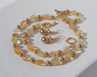 Citrine and Swarovski crystal pearl jewelry set
