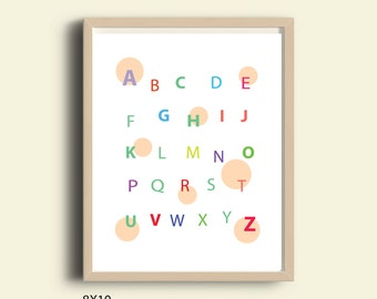 Nursery art ABC, modern Alphabet wall art, instant download, children playroom, nursery alphabet, ABC wall art, nursery decor, kids room art