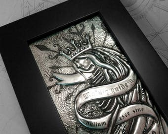 Skeleton Queen : hand embossed anatomical repoussé metal wall art