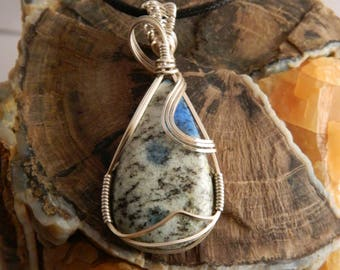 K-2 Granite Wire Wrapped Pendant - Wire Wrapped Necklace - Wire Wrapped Stone Necklace -