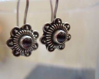 Sterling Silver 925 Hallmarked Vintage Earrings with Purple Amethyst