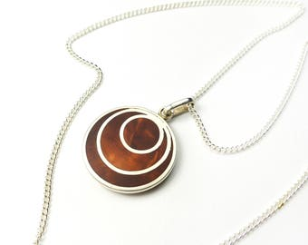 Silver pendant with wood (yew) - RINGS OF YEW