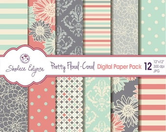 Pretty Floral Coral Digital Paper Pack 12x12 Instant Download Seamless Pattern