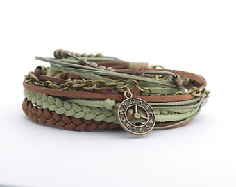 Color of the 2017 GREENERY Brown Green Bohemian Wrap Bracelet, Brown Olive Women Bracelet, Boho Jewelry, Gypsy Bracelet, gift for her