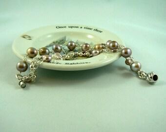 Blush Pearl Triple Strand Sterling Bracelet