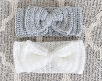 Toddler Oversized Bow Crochet Headband, Earwarmer