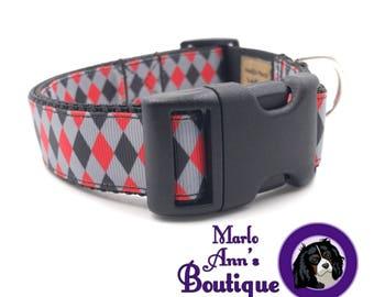 Dog / Dog Collar / Argyle Dog Collar / Red / Scarlet / Gray / Grey / Black / Argyle / Diamond / Dog Collar and Leash Set / Adjustable