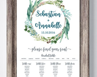 Leafy Wedding Seating Chart -Digital
