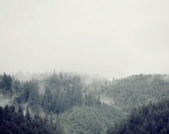 "Foggy Mountain Art Print, Oregon Landscape Photography, Nature Photography Print, Large Wall Art, Wall Decor, Home Decor ""Distant Dream"""