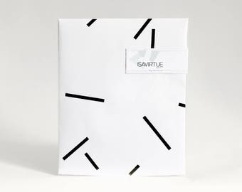 White gift wrap: black and white modern geometric wrapping paper - fireworks