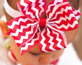 Red Chevron Baby Headband, Baby Christmas Bow, Large Pinwheel Bow,  Chevron Bow, Green Bow, Red Bow