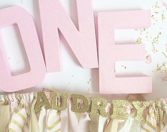 Light Pink Glitter Number 1 - First Birthday - Party Decor - Princess Party - Girl's Birthday - Big Number for Birthday Party