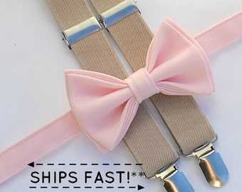 Blush Bow Tie & Tan Suspenders with Blush Pocket Square for Groom, Groomsmen, Ring Bearer