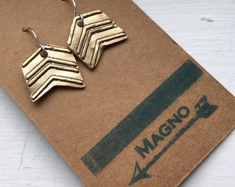 Handmade bronze mini chevron earrings on sterling wires