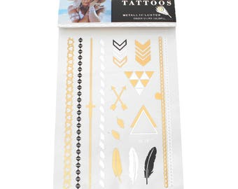Short-lived tattoo black, gold and silver. Feathers and arrows.