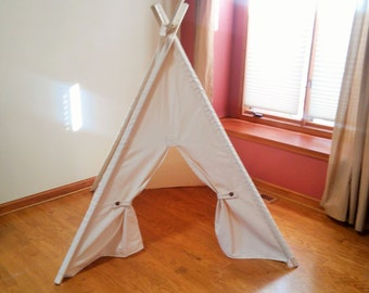 Kids Play Teepee Canvas Kids Tent  with Button Back ties, Teepee with poles