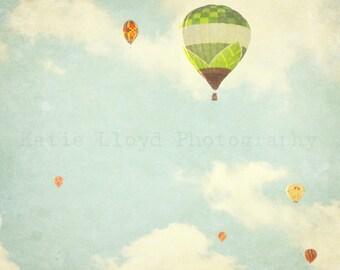 Hot Air Balloons in Flight - Whimsical Fine Art Photography Print - Nursery Bedroom Home Decor Photo